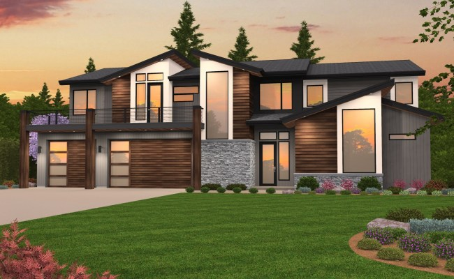 Be Blown Away By This Exciting Two Story Modern Home Design
