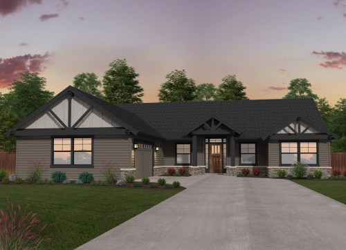 double b ranch single story lodge house plan