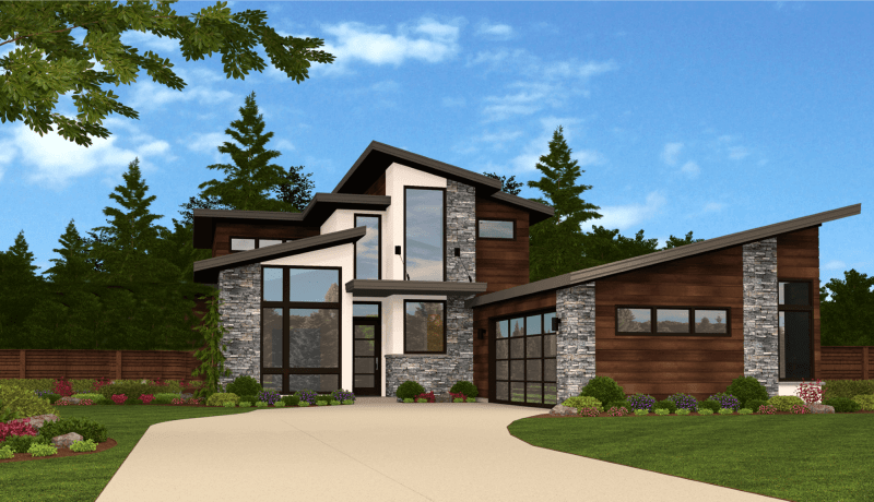 Dallas House Plan | 2 Story Modern House Design Plans with Garage