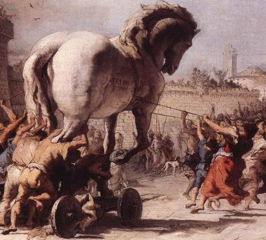 The Procession of the Trojan Horse in Troy by Domenico Tiepolo (1773), inspired by Virgil's Aeneid, in the public domain.