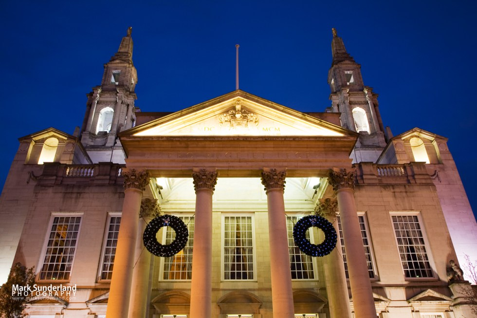 Leeds Civic Hall floodlit at dusk at Christmas, Leeds, West Yorkshire