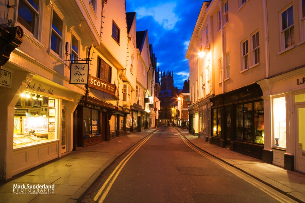 Low Petergate at dusk looking toward The Minster, City of York