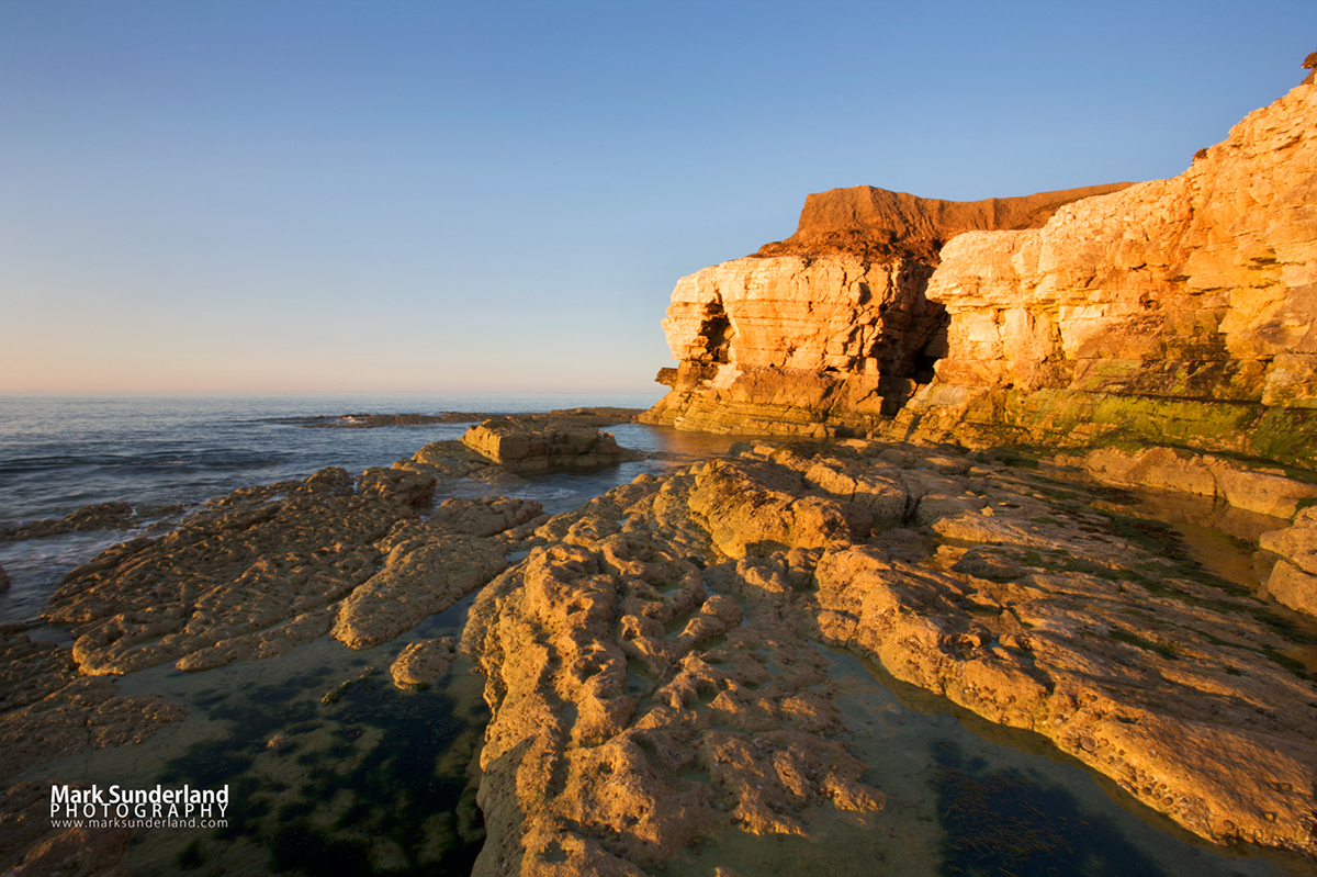 Thornwick Nab at sunset, Flamborough Head, East Riding of Yorkshire