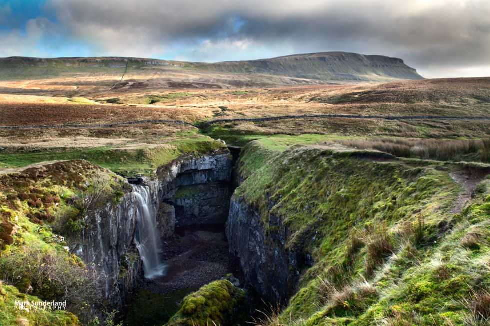 Waterfall at Hull Pot and Pen Y Ghent, Ribblesdale