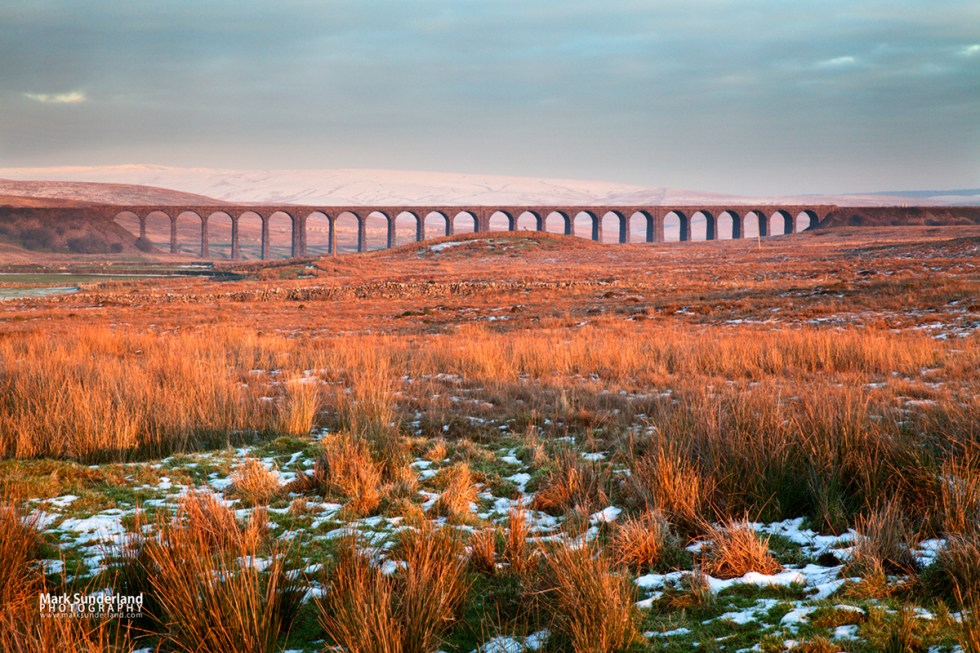 The Ribblehead Viaduct at Sunset in Winter, Yorkshire Dales