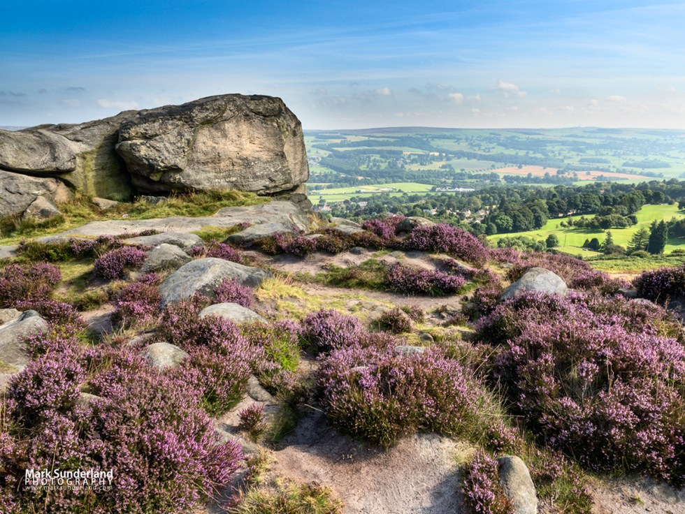 View over Wharfedale from Cow and Calf Rocks on Ilkley Moor, West Yorkshire