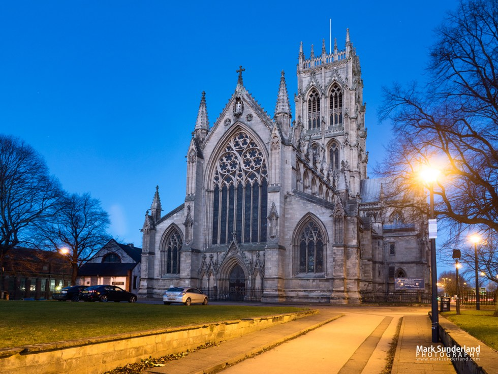 The Minster Church of St George at Dusk, Doncaster, South Yorkshire