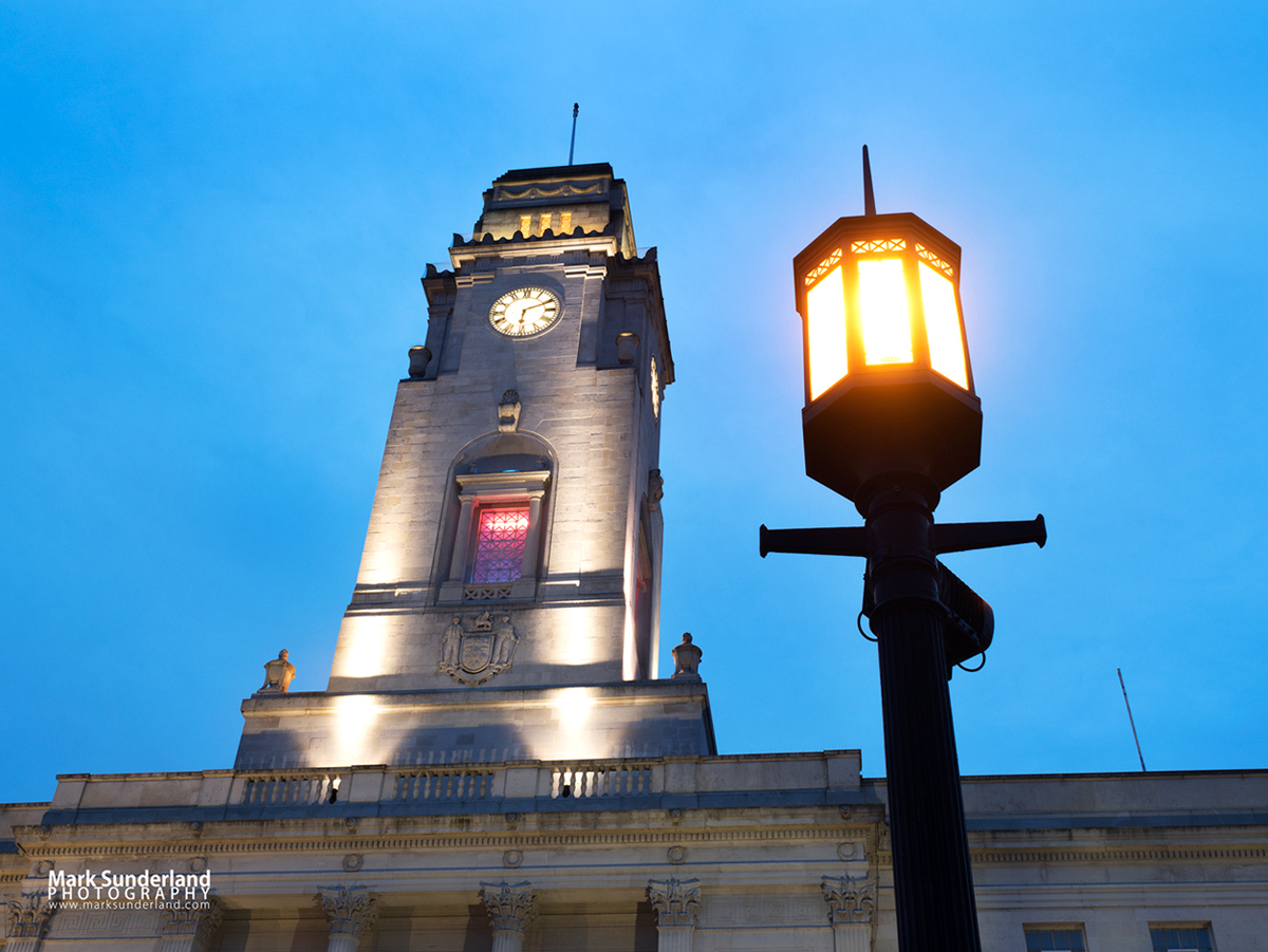 Barnsley Town Hall and Art Deco Street Lamp at Dusk, Barnsley, South Yorkshire