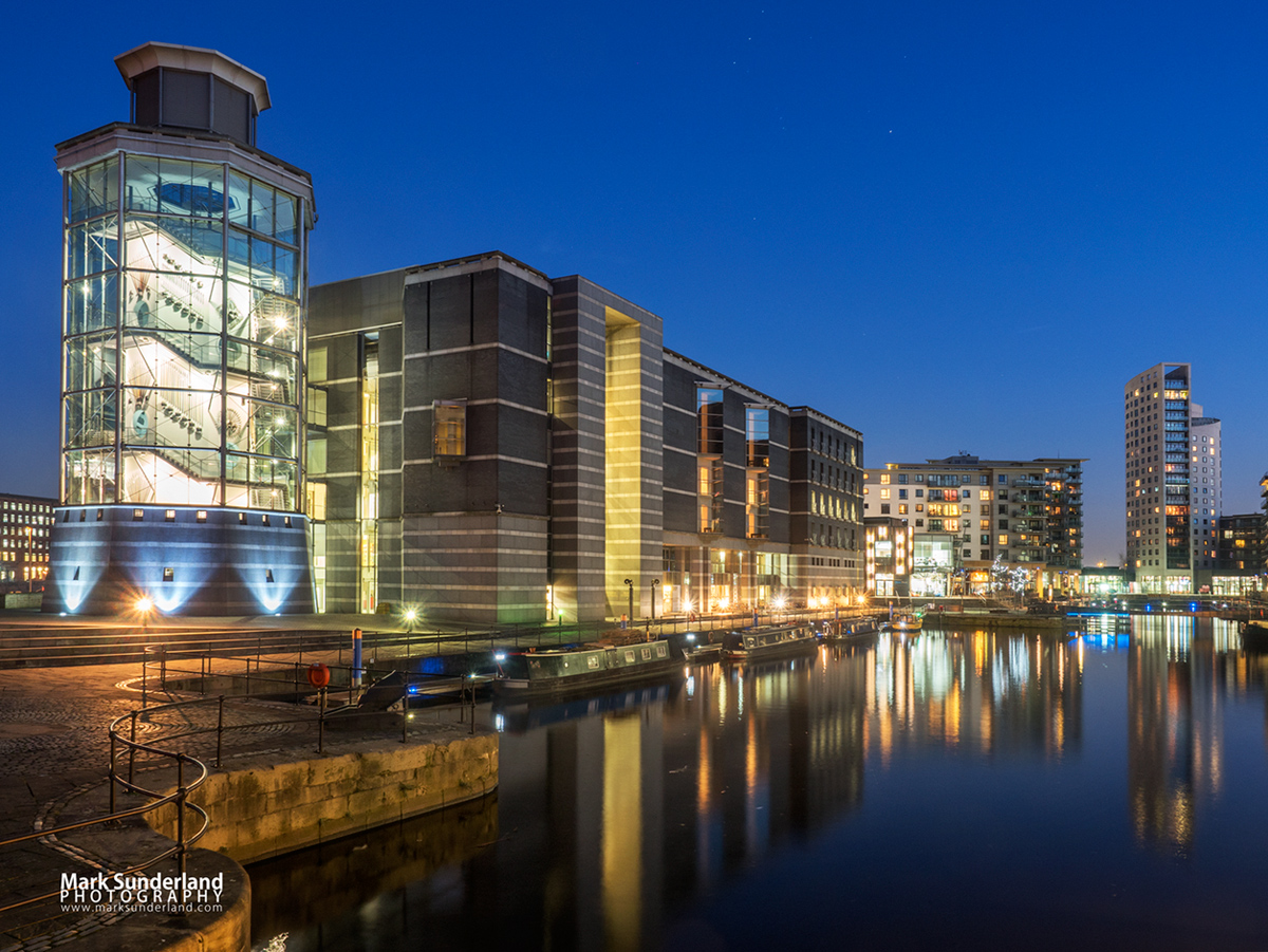 The Royal Armouries Museum from Leeds Dock at dusk, Leeds, West Yorkshire