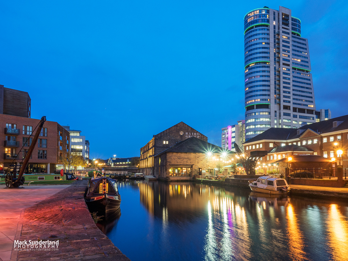 Bridgwater Place and Granary Wharf at dusk, Leeds, West Yorkshire