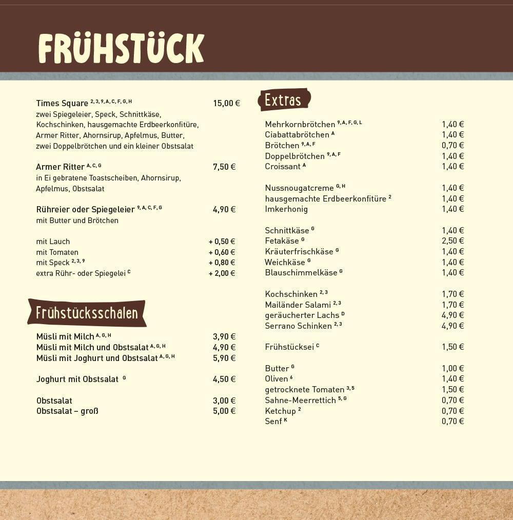 Frhstckskarte Kaffeersterei  Kaffee Shop Markt 11