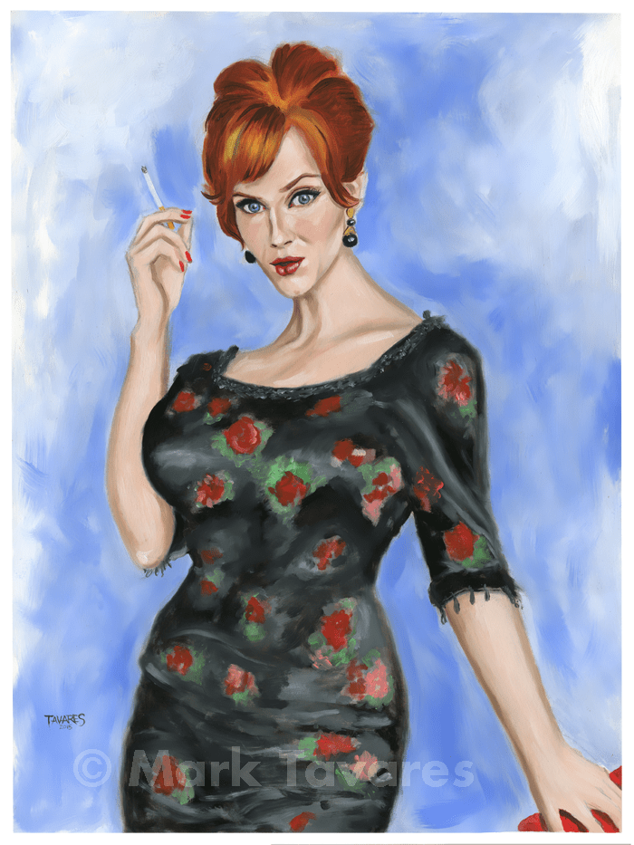 """Christina Hendricks as Joan Holloway"" 18 x 24. Oil and Acrylic on Watercolor Paper. © Mark Tavares"