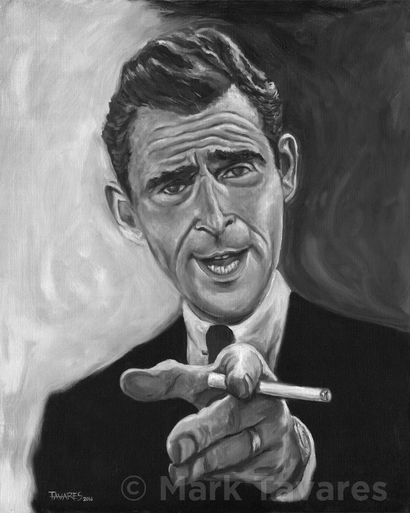 Oil Painting of Rod Serling by Mark Tavares