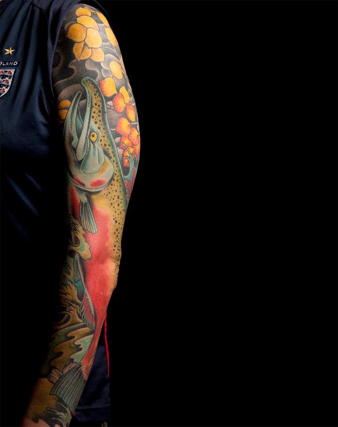 Salmon sleeve  Mark Thompson Tattoo