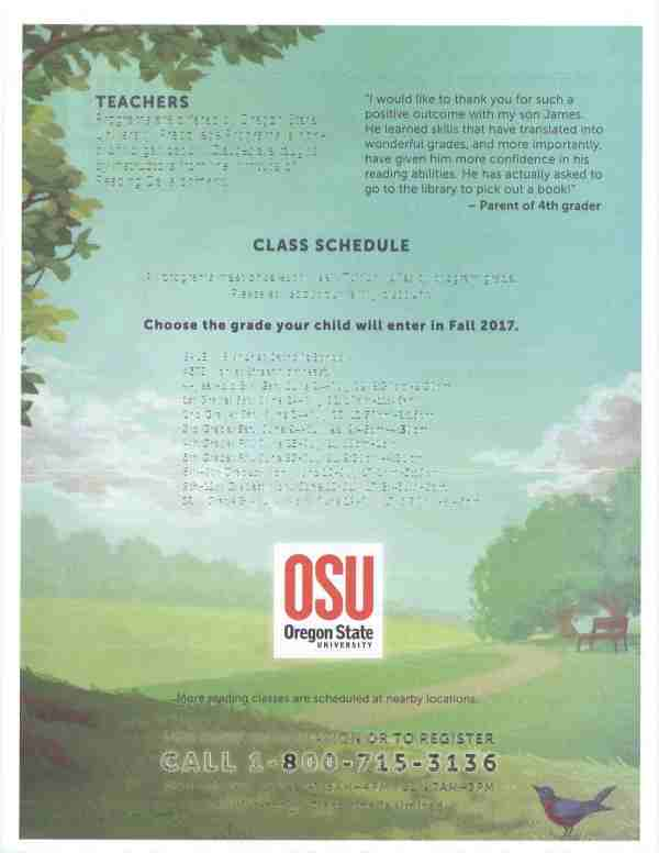 Oregon State University Offering Summer Reading