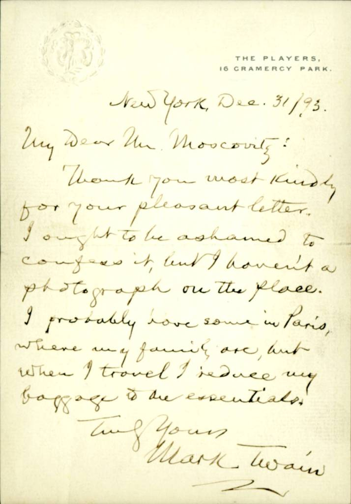 Mark Twain letter to Mr. Moscovitz, 31 December 1893