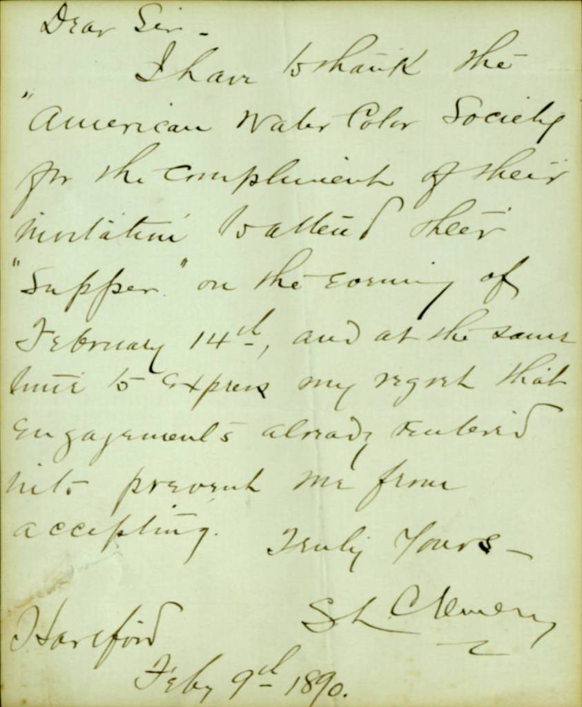 Clemens letter to the American Water Color Society, 9 February 1890