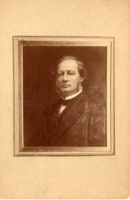 Photograph of a portrait painted of Jervis Langdon (Sr.) by Thomas LeClear. Jervis Langdon was the father of Olivia Langdon Clemens and father-in-law to Samuel Clemens.