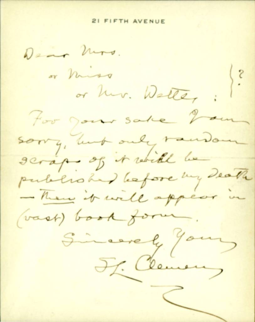 Letter from Samuel Clemens to Mr. or Mrs. Walter (?), undated