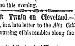 Wild To Move: Mark Twain in Cleveland