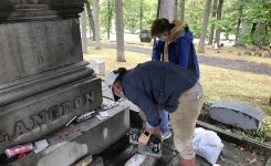 Restoration of the Langdon/Clemens Funerary Plot is in Full Swing