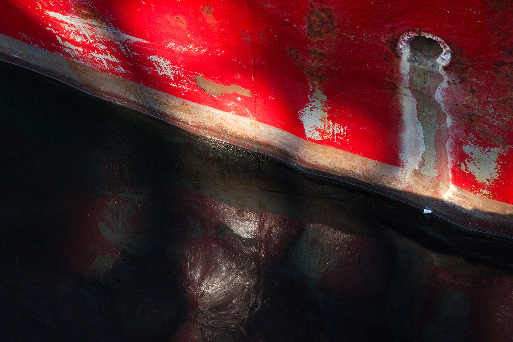 Red hull and reflection