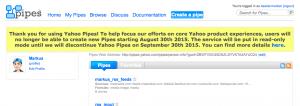 Screenshots Ende Yahoo Pipes