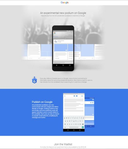 google posts Startseite, ein neuer Dienst in den USA