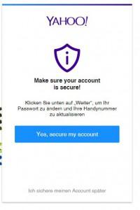 Yahoo Loginbox mit Sicherheitsinformationen