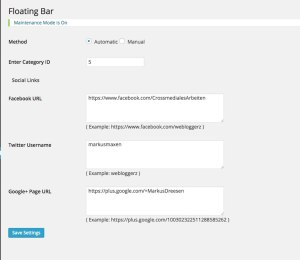 Webloggerz WP Floating Footer Bar PlugIn