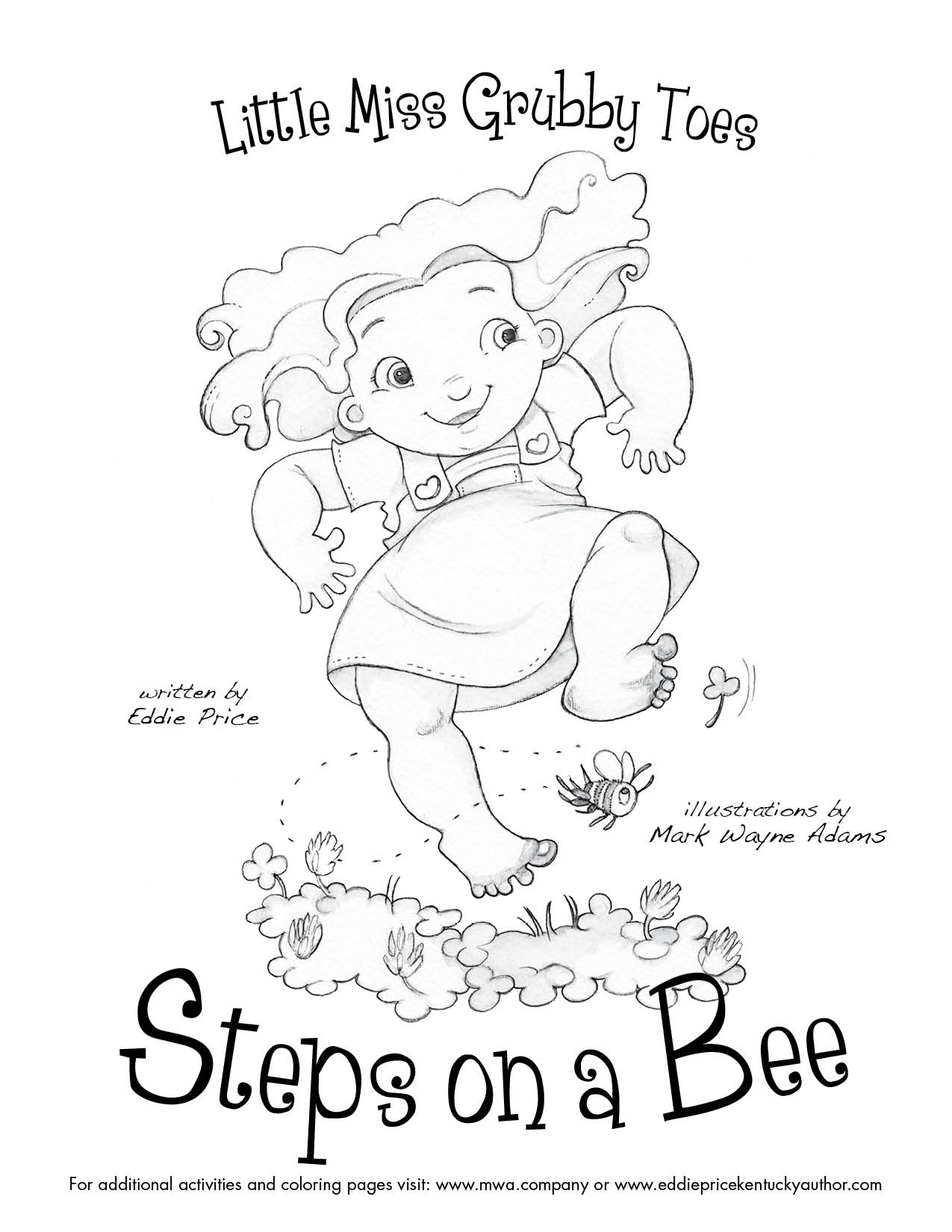 """Coloring Page: """"Little Miss Grubby Toes: Steps on a Bee!"""""""