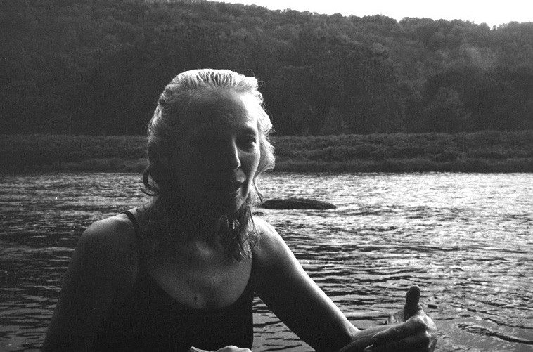 Kazzrie Jaxen and her beloved Delaware River, Callicoon, New York, August 7, 2o11   Photo by Mark Weber