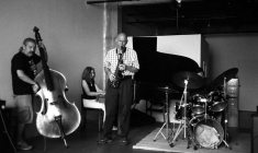 Ed Schuller, bass; Connie Crothers, piano; Richard Tabnik, alto saxophone; Roger Mancuso, drums -- Connie's loft -- August 24, 2o12 -- photo by Mark Weber
