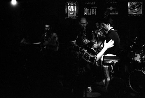 """Spiritual"" -- Tom Guralnick sits in with Tetragon during Coltrane Birthday Memorial Concert @ Outpost -- September 23, 1995 -- Tim Zannes & Kanoa Kaluhiwa, tenor saxophones; Paul Gonzales (trumpet) conducting; John Belzaguy, bass; Steve Figueroa, piano; Kenny Battat, drums; TG, alto -- photo by Mark Weber"