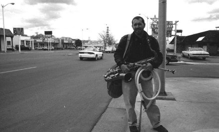 Tom Guralnick hits the road, almost -- April 25, 1997 -- Central Avenue (Rt. 66) at Morningside Drive, Albuquerque -- photo by Mark Weber