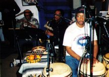Bobby Bradford, cornet; Charles Owens, sax; Don Littleton, percussion -- May 24, 1999 recording session at Newzone Studios, Los Angeles, for Roberto Miranda's album -- photo by Wayne Peet