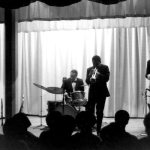 The New Art Jazz Ensemble -- John Carter, woodwinds; Bruz Freeman, drums; Bobby Bradford, trumpet; Tom Williamson, bass -- circa 1968 Los Angeles -- photographer unknown, from the collection of Bobby Bradford