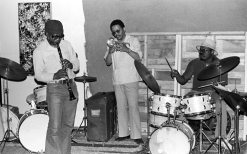 John Carter, Bobby Bradford, Stanley Crouch -- April 24, 1977 -- Stanley no longer lived in Los Angles but was visiting from New York -- photo by Mark Weber