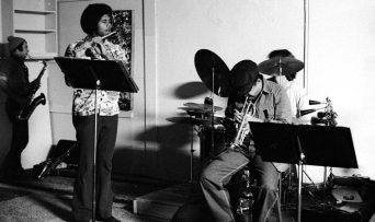 Vinny Golia, tenor sax; Bobby Bradford, cornet; James Newton, flute; Kim Calkins, drumset -- most probable date: April 17, 1977 -- workshop jam session at Little Big Horn -- photo by Mark Weber