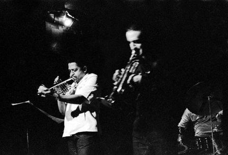 Bobby Bradford Mo'tet at Century City Playhouse, Los Angeles -- April 1, 1979 -- Bert Karl, drums; Noah Young, bass, Glenn Ferris, trombone & flugelbone; Bobby, cornet -- photo by Mark Weber
