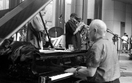 Bobby Bradford Mo'tet -- LACMA -- August 23, 2002 -- Don Preston, piano; Bobby, cornet, Ken Rosser, guitar -- photo by Mark Weber