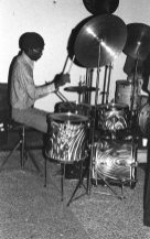 William Jeffrey (he still has this drumset -- in 2012 -- although, he has another set he uses now on gigs) -- November 28, 1976 -- Little Big Horn -- photo by Mark Weber