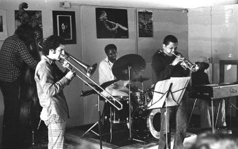 Richard Rehwald, bass; Glenn Ferris, trombone; John Goldsmith, drums; Bobby Bradford, cornet; Clovis Bordeaux, Rhodes piano -- Little Big Horn -- September 12, 1976 -- photo by Mark Weber