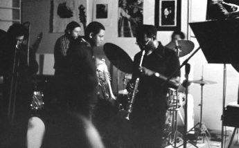 Glenn Ferris, trombone; Richard Rehwald, bass; Bobby Bradford, cornet; John Goldsmith, drums; John Carter, soprano -- September 12, 1976 -- Little Big Horn -- photo by Mark Weber