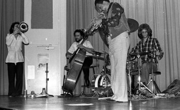 """Bobby Bradford Extet -- February 25, 1977 -- Pitzer College, Claremont, California -- Glenn Ferris, trombone; Kim Calkins, drums; Roberto Miranda, bass; Bobby Bradford, cornet -- photo by Mark Weber -- an excellent recording of this event exists, recorded by Bruce Bidlack on 10 1/2"""" reels and 4 tracks!"""