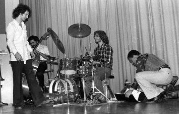 Bobby Bradford Extet -- February 25, 1977 -- Pitzer College, Claremont, California -- Glenn Ferris, trombone; Kim Calkins, drums; Roberto Miranda, bass; Bobby Bradford, cornet -- photo by Mark Weber