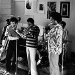 Bobby Bradford Extet -- September 5, 1976 -- Little Big Horn -- Henry Franklin, bass; James Newton, flute; John Goldsmith, drums; Bobby Bradford, cornet; Glenn Ferris, trombone -- photo by Mark Weber