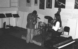 Bobby Bradford, cornet; Diamanda Galas, voice; Roberto Miranda, bass -- October 3, 1976 -- Little Big Horn, Pasadena -- photo by Mark Weber