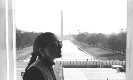 Janet at the Lincoln Monument in DC -- March 17, 1995 -- photo by Mark Weber