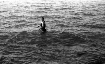 Janet Simon in Lake Erie at Mentor Headlands -- June 1988 -- photo by Mark Weber